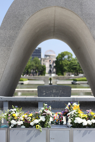 Looking through the peace arch, past the peace flame, down to the genbaku dome